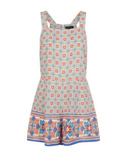 Red Tile Print Contrast Border Pinafore Playsuit  | New Look
