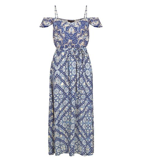 Blue Abstract Print Frill Cold Shoulder Maxi Dress  | New Look