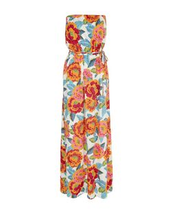 White Floral Print Bandeau Tie Waist Maxi Dress  | New Look