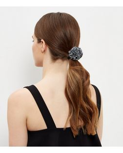 Monochrome Pom Pom Hair Band  | New Look