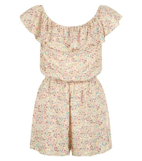 Yellow Ditsy Floral Print Frill Bardot Neck Playsuit  | New Look