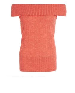 Bright Orange Fine Knit Fold Over Bardot Neck Top  | New Look