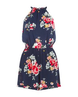 Navy Floral Print High Neck Playsuit  | New Look