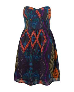 Black Abstract Print Bandeau Skater Dress  | New Look