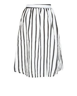 Mela White Stripe Midi Skirt | New Look