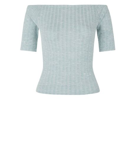 Light Green Fine Knit Ribbed Bardot Neck Top  | New Look