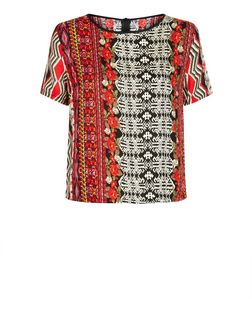 Mela Red Aztec Print Shell Top | New Look