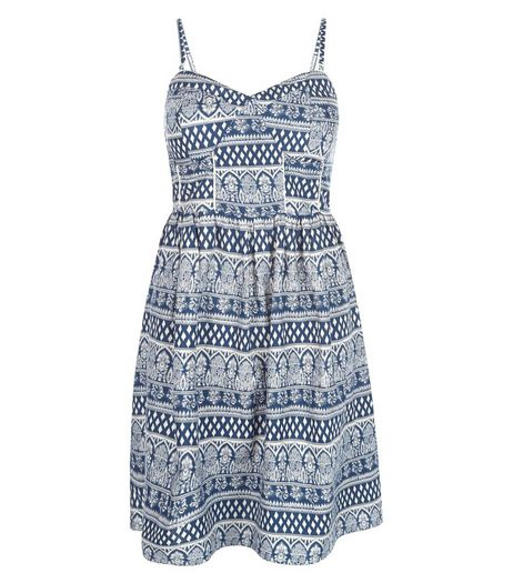 Blue Tile Stripe Strappy Dress  | New Look