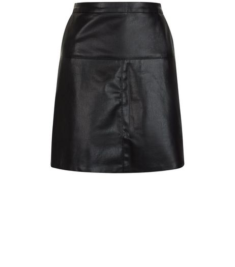 Mela Black Leather-Look Skirt | New Look