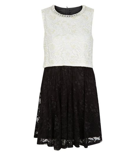 Mela Black Contrast Lace Embellished Neckline Dress  | New Look