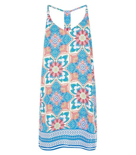 Blue Floral Tile Print Cami Slip Dress  | New Look