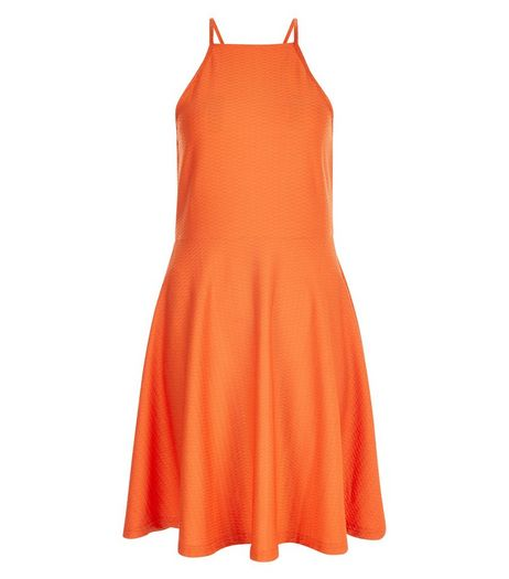 Bright Orange Jacquard Jersey Skater Dress  | New Look