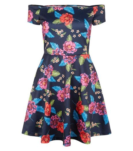 Black Floral Print Bardot Neck Skater Dress | New Look