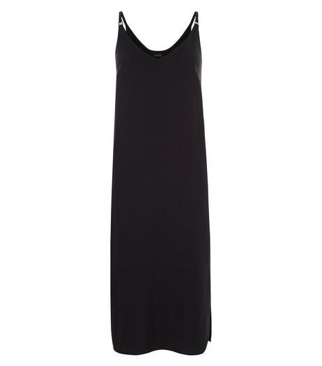 Black Midi Slip Dress  | New Look