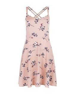 Pink Rose Floral Print Strappy Dress | New Look