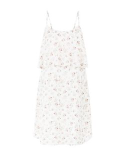 Cream Ditsy Floral Print Layered Slip Dress  | New Look