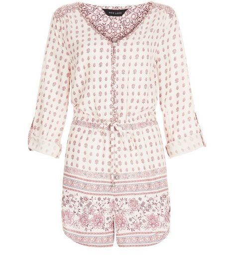 Cream Tile Print Shirt Playsuit  | New Look