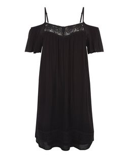 Black Crochet Trim Cold Shoulder Smock Dress  | New Look