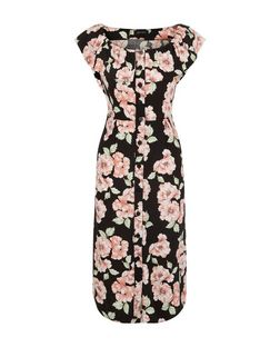 Black Floral Print Button Front Bardot Neck Midi Dress  | New Look