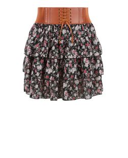 Teens Black Ditsy Floral Rara Skirt | New Look