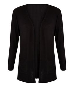 Girls Black Ribbed Cardigan | New Look