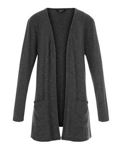 Teens Grey Ribbed Cardigan | New Look