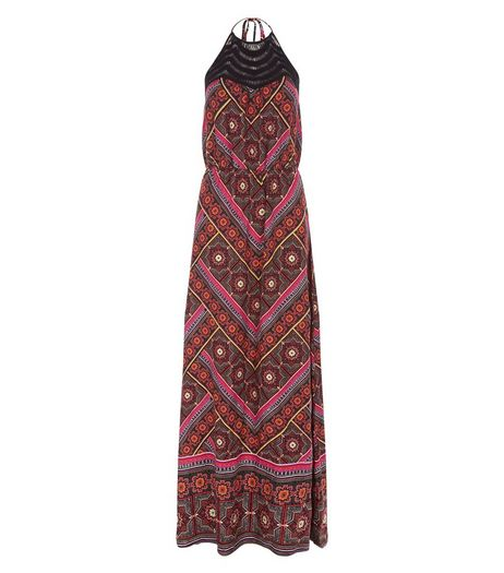 Black Crochet Panel Abstract Print Maxi Dress | New Look