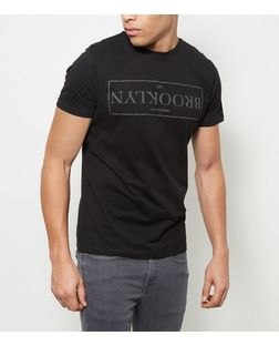Black Brooklyn Print T-Shirt | New Look