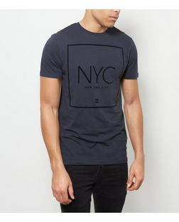 Navy NYC Print T-Shirt | New Look