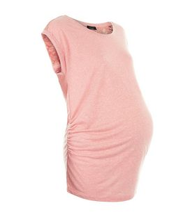 Maternity Mid Pink Lace Panel Cap Sleeve T-Shirt | New Look
