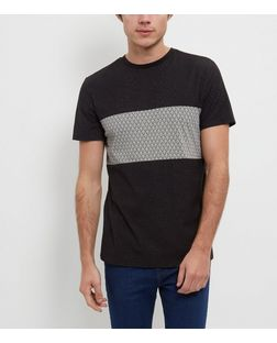 Dark Grey Abstract Print Panel T-Shirt  | New Look