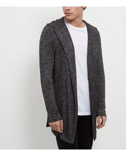 Dark Grey Hooded Waterfall Cardigan | New Look