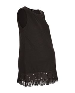 Materniry Black Broderie Trim Shell Top | New Look