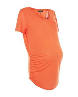 Maternity Orange Pocket Short Sleeve T-Shirt | New Look