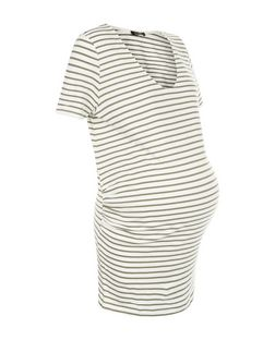 Maternity Green Stripe Scoop Neck T-Shirt  | New Look