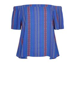 Blue Aztec Stripe Bardot Neck Top | New Look