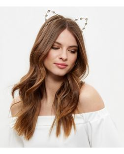Gold Floral Cat Ears Headband | New Look