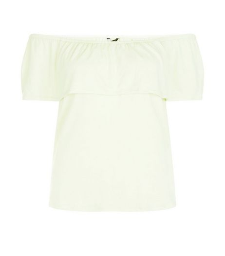 Light Green Ruffle Trim Bardot Neck Top  | New Look