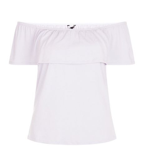 Light Purple Ruffle Trim Bardot Neck Top  | New Look