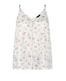 White Floral Print Button Front Cami  | New Look