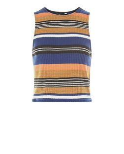 Blue Stripe Funnel Neck Sleeveless Top | New Look
