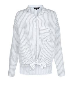 White Pinstripe Single Pocket Tie Front Shirt  | New Look