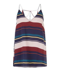 Blue Stripe Strappy Back Cami  | New Look