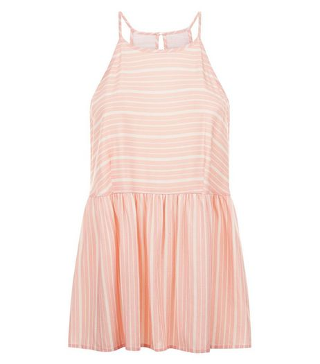 Coral Stripe High Neck Peplum Cami  | New Look