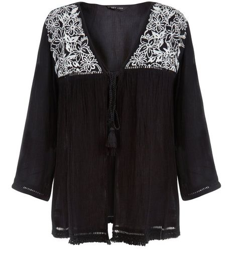 Black Embroidered Panel Tie Front Kimono  | New Look