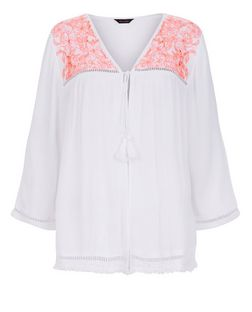 White and Pink Embroidered Panel Tie Front Kimono  | New Look