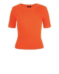 Bright Orange Ribbed T-Shirt  | New Look