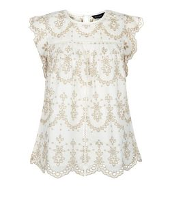 White Lace Cut Out Ruffle Sleeve Top  | New Look