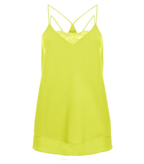 Lime Lace Trim Double Strap Layered Cami | New Look