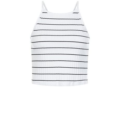 White Ribbed Stripe Crop Top  | New Look
